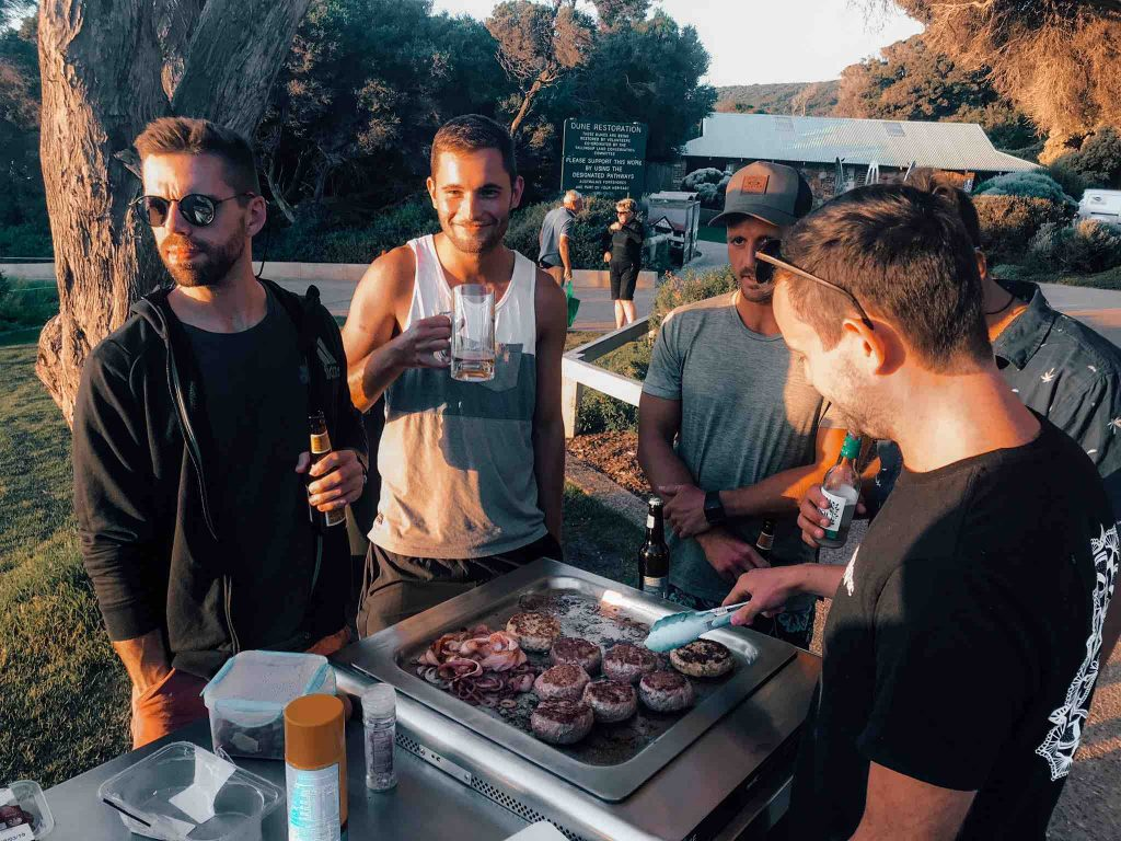 Cooking food on a BBQ at yallingup beach