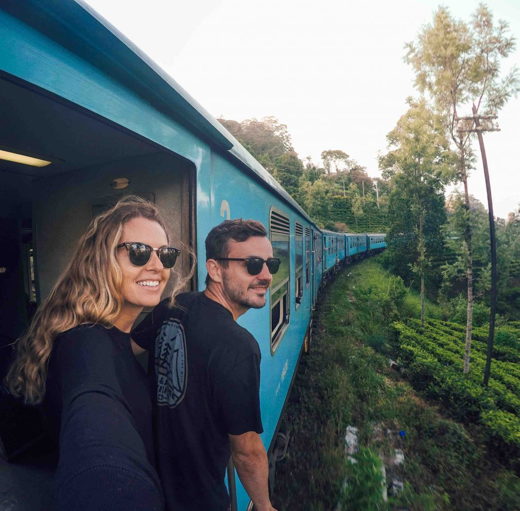 Hanging out the doorway of the Ella to Kandy Train